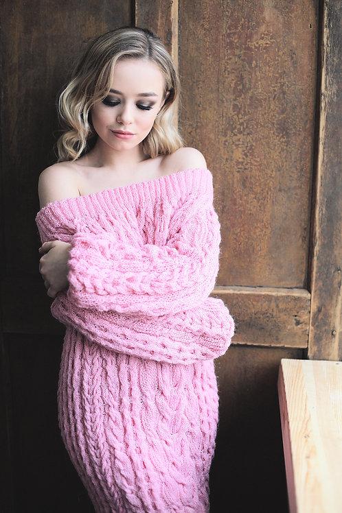 Платье ручной вязки шерсть/акрил розовое