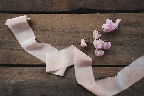 Naturally dyed Italian silk ribbon - Onion Skins
