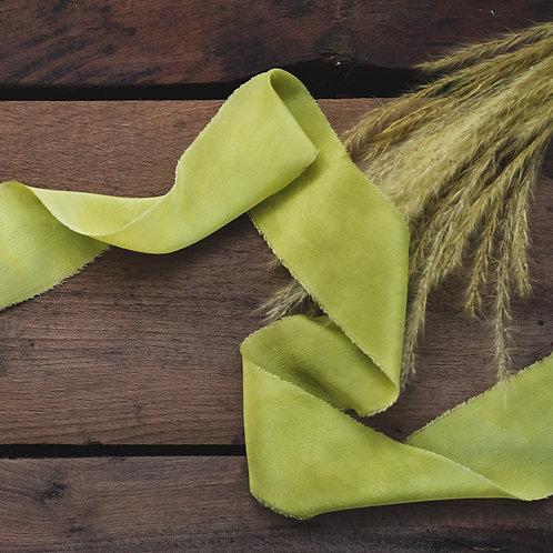 Dyed Italian silk ribbon - Turmeric & Green Dye