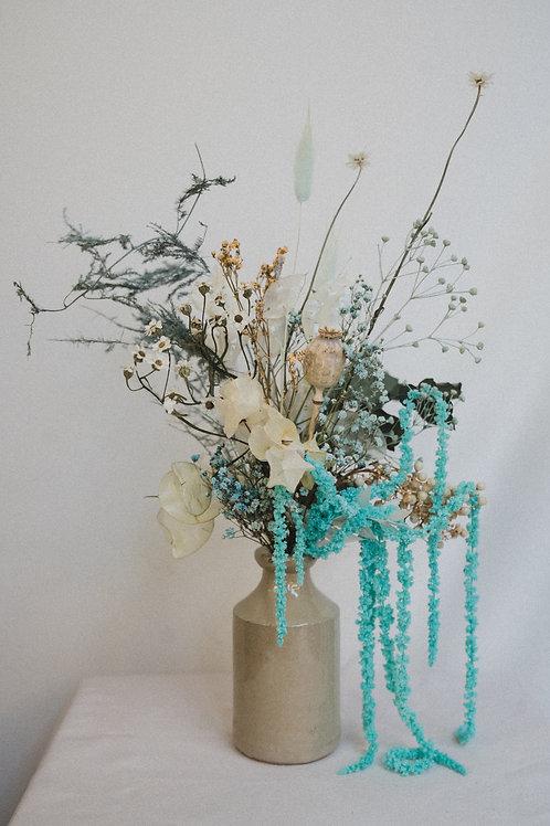 Dried flower bouquet (mint) with a Victorian vintage vase