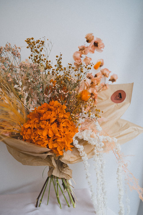 Orange hydrangea bouquet