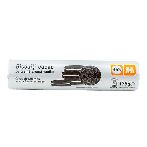 365 Biscuiti cu Cacao si Crema Aroma Vanilie - 176g