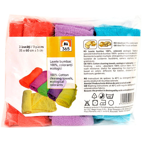 365 Lavete color - 3 buc