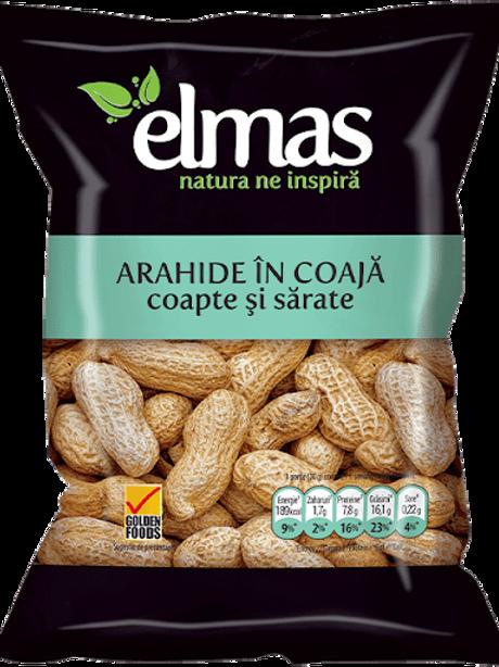 ELMAS Arahide in coaja coapte sarate 100GR