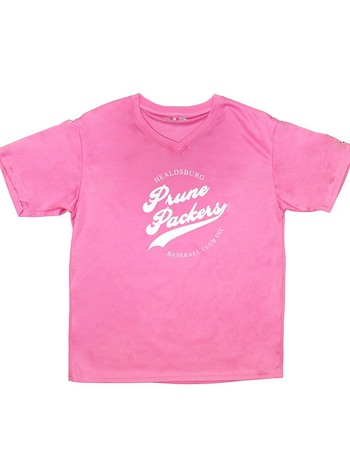 Womens V-Neck Jersey Pink Polyester Prune Packers