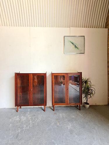2 x Danish Mid Century Rosewood Display Cases