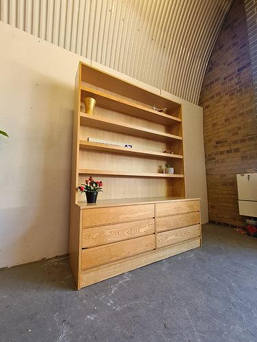 Danish Oak Drawers With Bookshelves