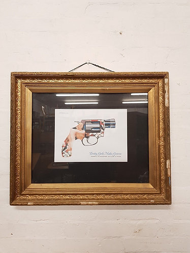 Antique Distressed Frame With Poster Art