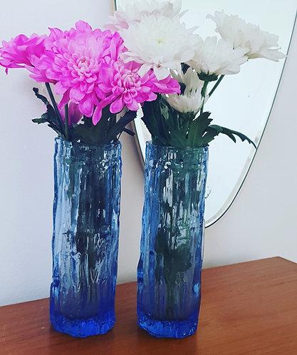 2 x 1960's Bark Glass Vases (online only)