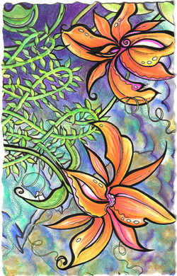 orange lilys, purple backing2.jpg