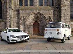 White E Class and VW Camper