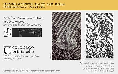 Opening reception flyer for prints from Arceo Press & Studio and Jose Andreu, artist talk and print demonstration at Coronado printstudio