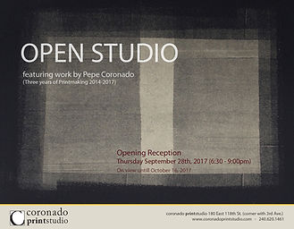 Open Studio featuring the work of Coronado printstudio and Pepe Coronado, art show flyer
