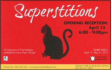 Superstitions opening reception flyer, exhibition shown at Coronado printstudio