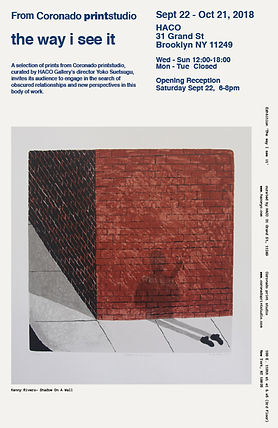 Art exhibition at HACO NYC Gallery, Brooklyn gallery, POC artists, Latino artists, from East Harlem, the way i see it show, Coronado printstudio artwork