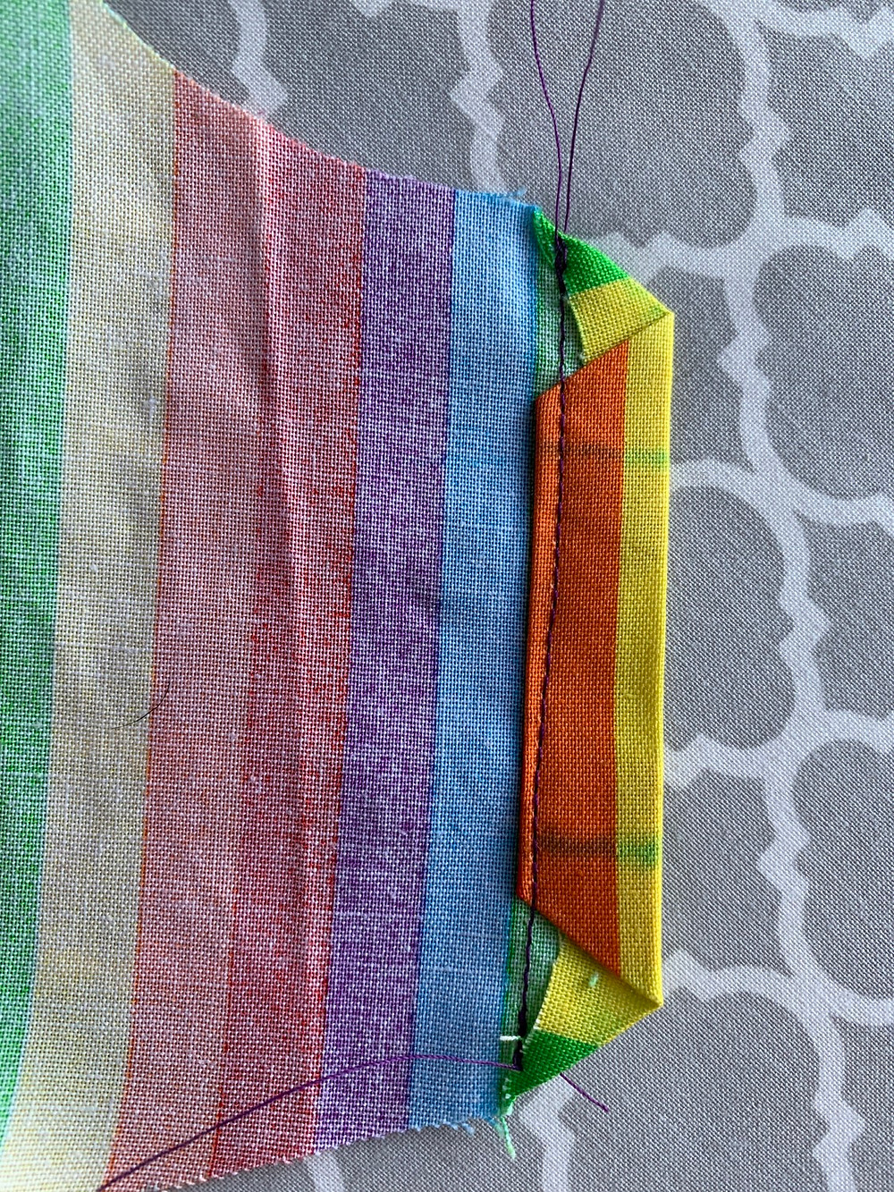 On the Outside pieces, stitch close to the previously pressed edge to leave enough room for the elastic.