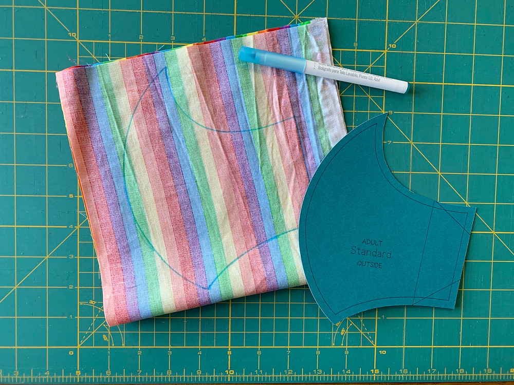 Place the Outside pattern on top of the Outside fabric. The curved edge of the pattern should run parallel to the fabric grain.