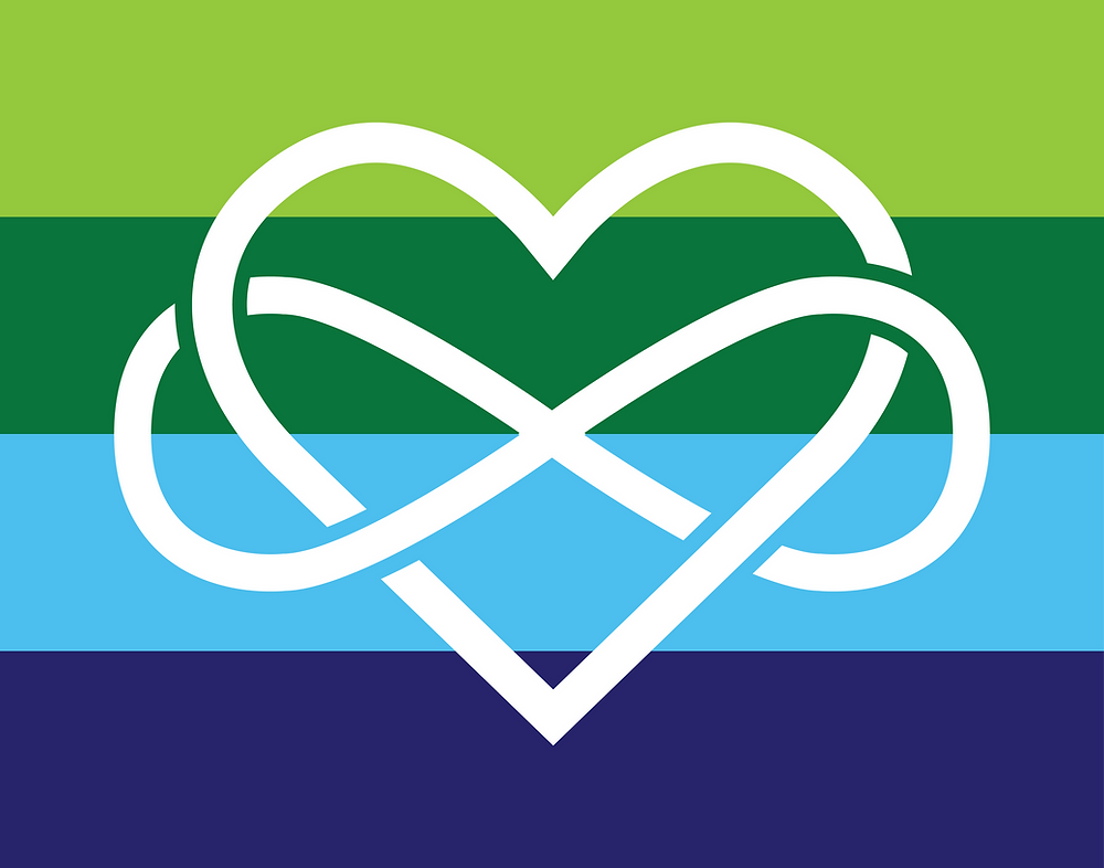 About the flag design The flag is comprised of four stripes, all of equal height. The colors of this flag include lime green for growth, kelly green for balance, sky blue representing freedom, and royal blue for trust. The infinity heart represents the concept of infinite love. The infinity heart in this flag touches every other color on the flag, unifying the concepts that the colors represent.
