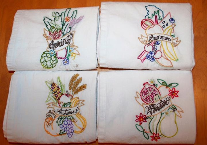 Seasonal tea towels I made for my mom a couple of years ago