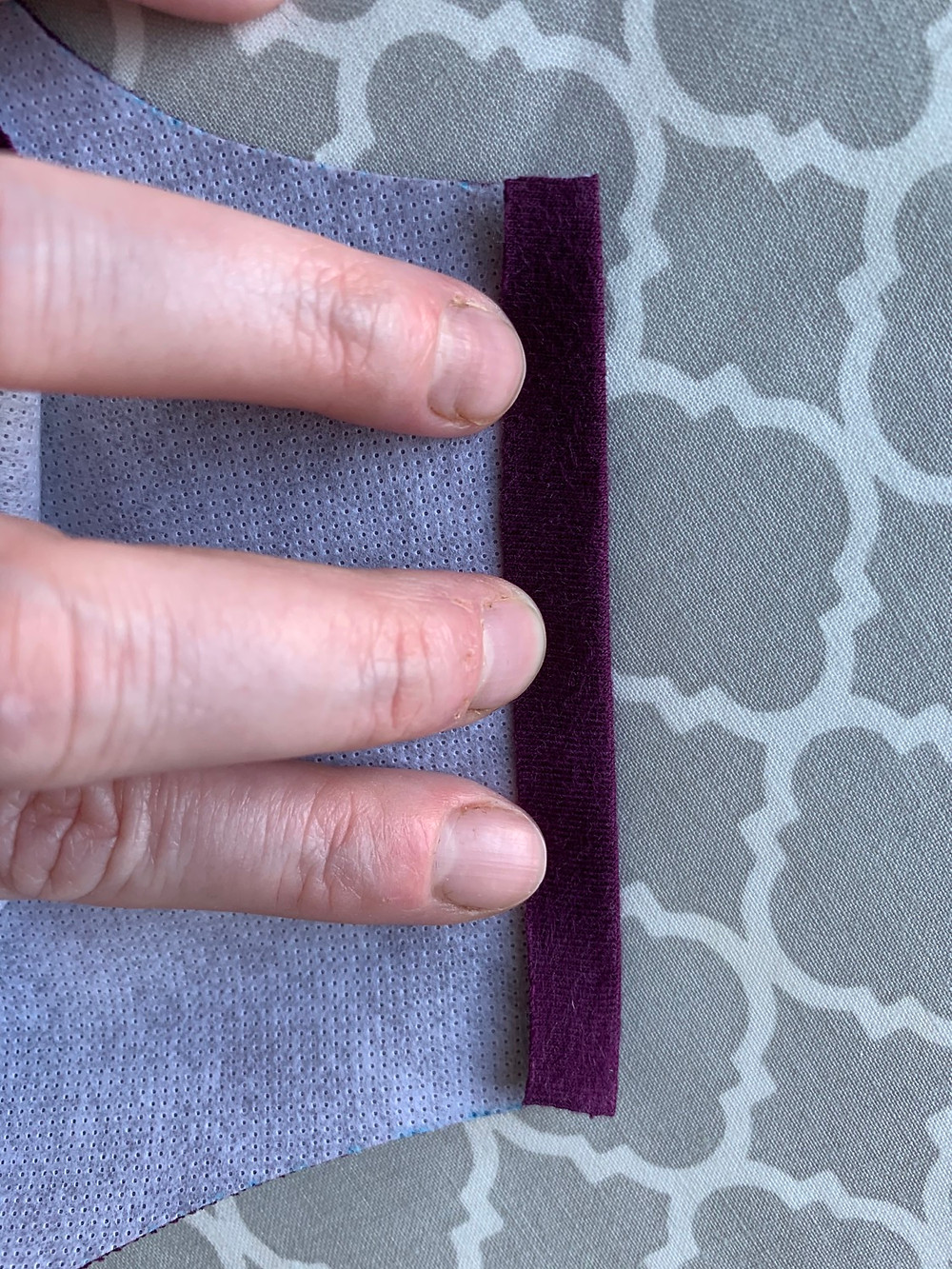 """Press the straight edges down about 1/4"""" away from the edge on the Inside piece."""
