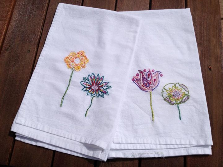 Flower tea towels made for my favorite radiation therapist (Beth) as a thank-you for getting me thro
