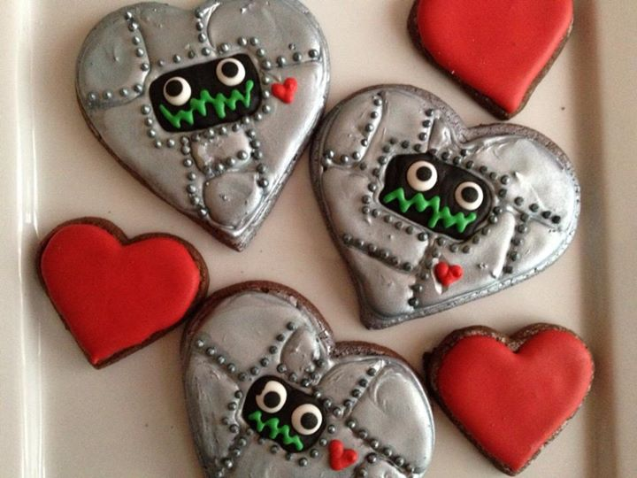 Comet Alley's birthday treats!  Robot heart cookies and monster cupcakes