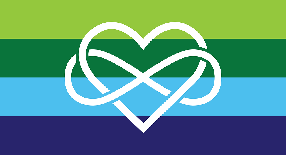 New polyamory pride flag sized for facebook. The flag is comprised of four stripes, all of equal height. The colors of this flag include lime green for growth, kelly green for balance, sky blue representing freedom, and royal blue for trust. The infinity heart represents the concept of infinite love. The infinity heart in this flag touches every other color on the flag, unifying the concepts that the colors represent. The infinity heart is white.
