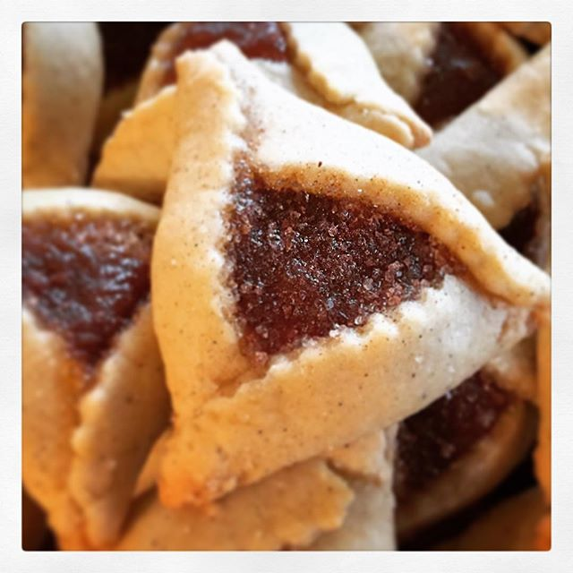 Happy #Purim! I made vanilla bean #hamentashen filled with brown butter almond paste and _smashedboo