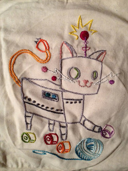 Robot Kitty totebag, made for Comet Alley for Christmas 2012