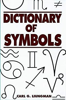 "A book cover with a variety of symbols on it (mostly astrological signs). Bold red text reads, ""The Dictionary of Symbols."""