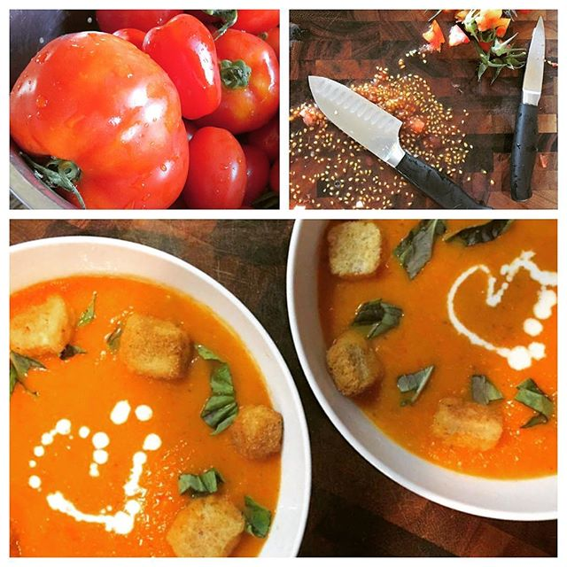 Put love in your belly! Fresh #tomatoes and #basil from _helsingfarmcsa, picked by ourselves when we