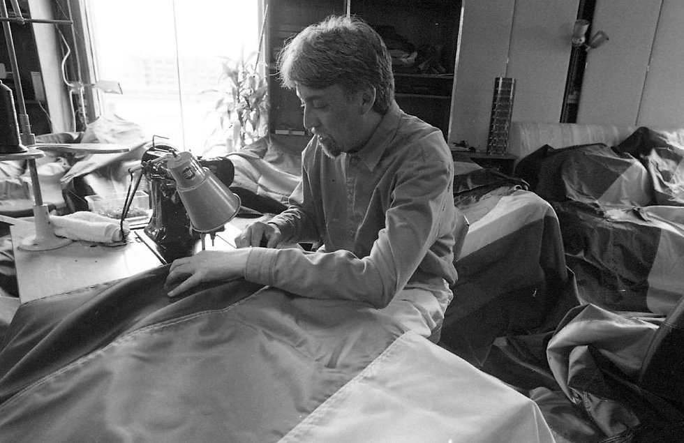 Gilbert Baker sewing the first LGBTQ+ pride flag