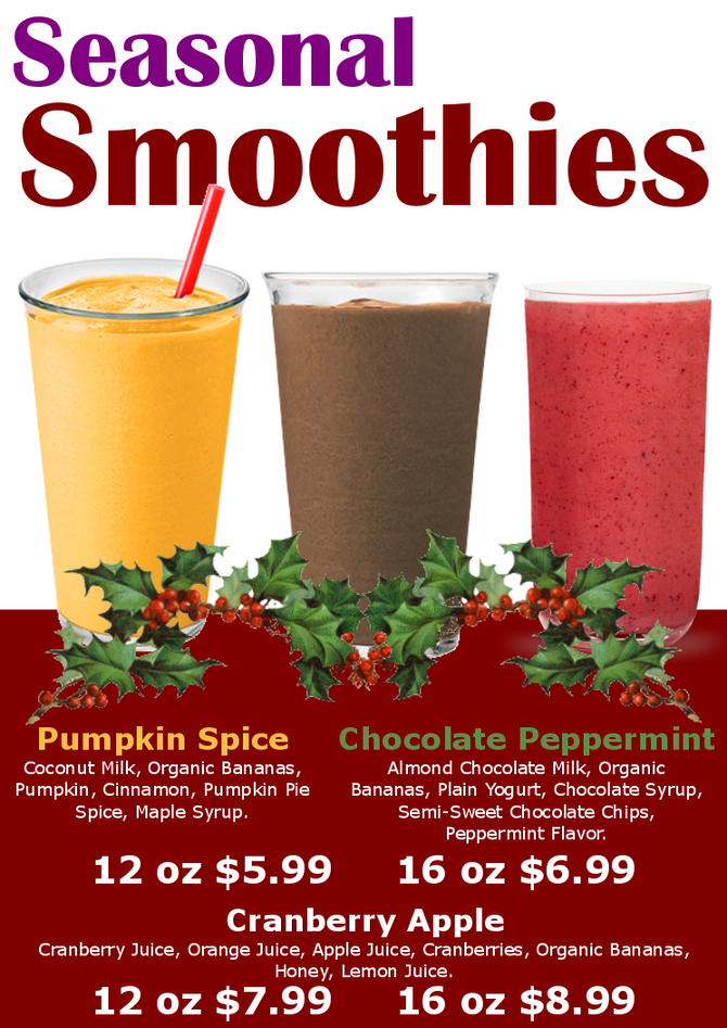This Month's Juice Bar Smoothie Specials!