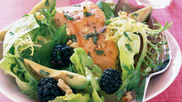 Recipe: Poached Salmon Salad with Walnuts, Avocado, and Blackberries