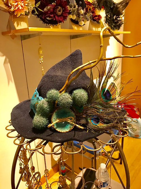 Cashmere Witchy Hat Navy/Teal