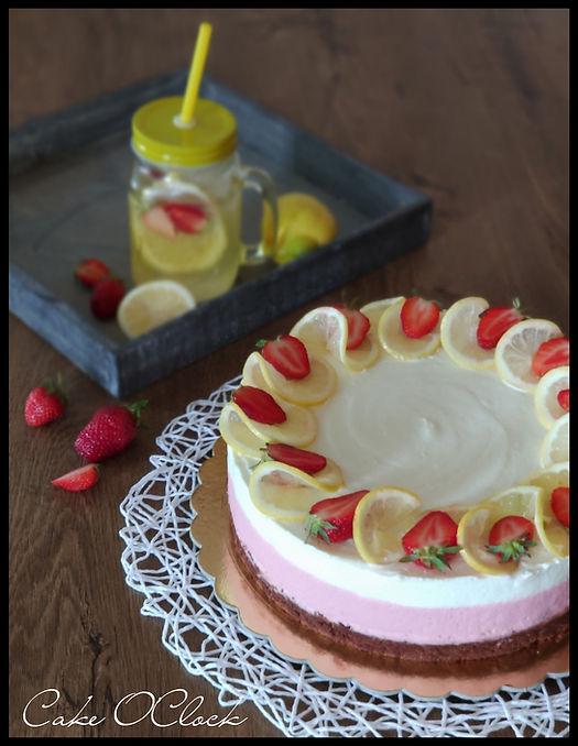 jagodno limonina torta, jagodna torta z limono