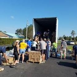 Unloading Hurricane truck