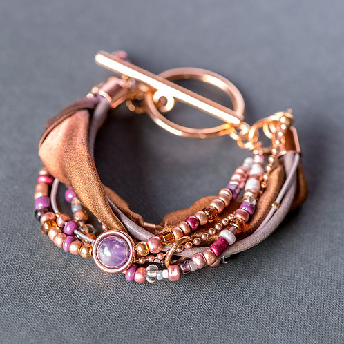 Armband mit Amethyst, in Rosegold
