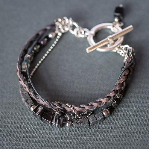 Armband mit Lava und Sardonyx