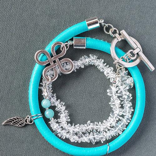 3-Strang Armband mit Bergkristall und echt Nappaleder