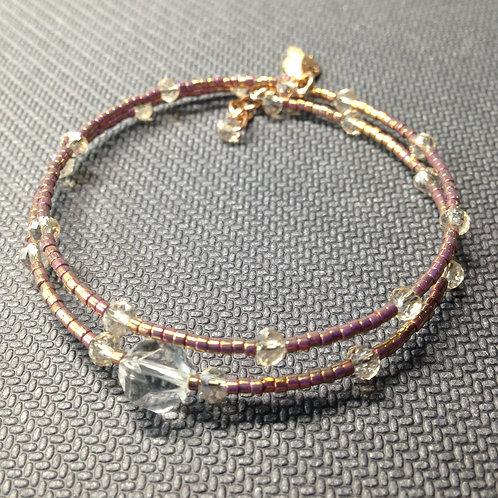 Elegantes 2-reihiges Armband mit Bergkristall