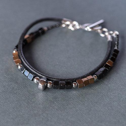 Designer-Armband mit edlem Onyx und Hämatit