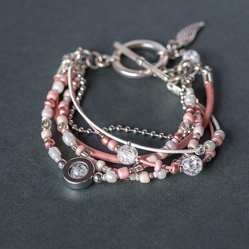 Rosa Armband mit Bergkristallen