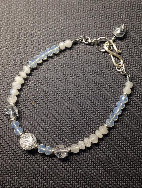 Echt Silber Armband mit Bergkristall und Mondstein