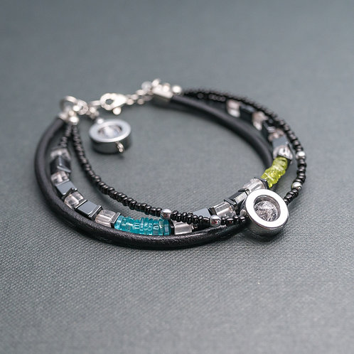 Designer-Armband mit Edelsteinen, Leder und Edelstahl