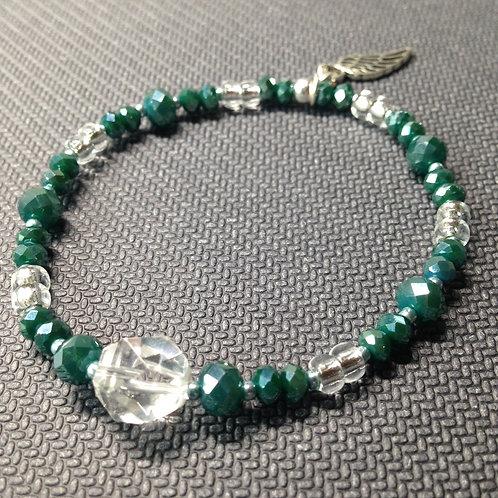 Petrolfarbenes Armband mit Bergkristall