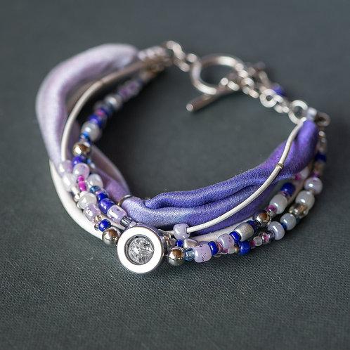 Armband mit Bergkristall und Edelstahl