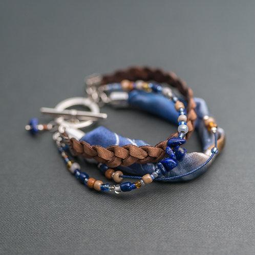 Leder-Armband mit Edelsteinen und Seide