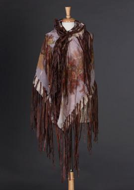 Eco Printed Silk Wrap, Nuno Felted Silk Fringe