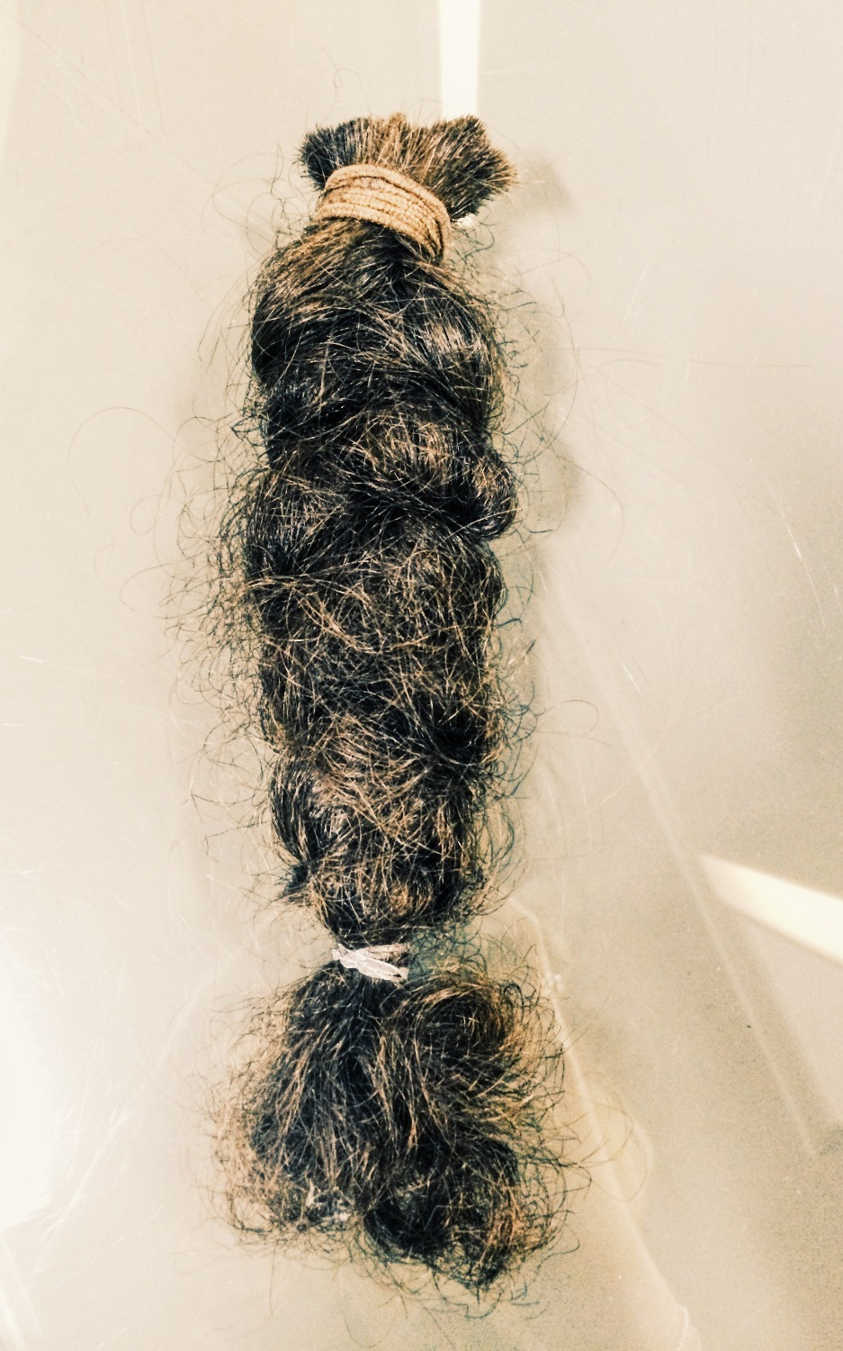 The braid to be sent to The Little Princess Trust